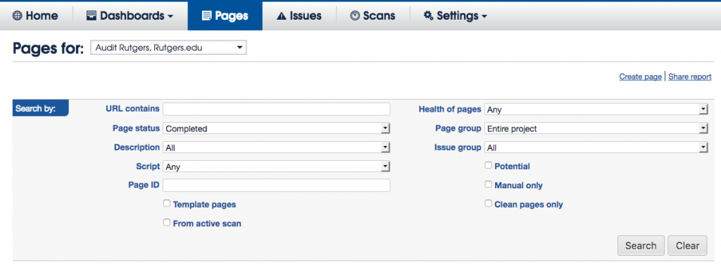 Pages section page search filters