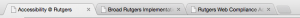 Tabs showing page titles