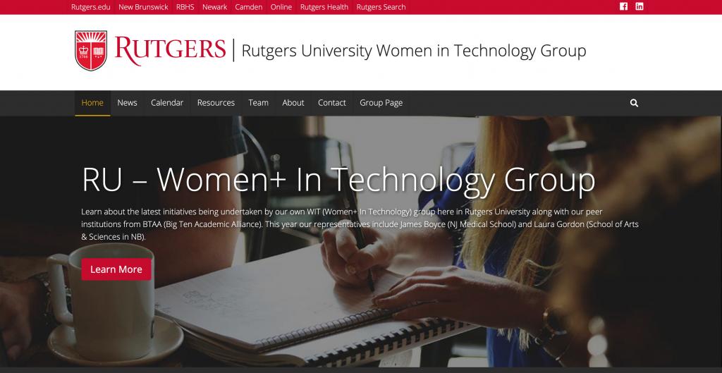 RU – Women+ In Technology Group web site image