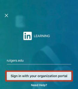 screenshot of organization portal for LinkedIn Learning mobile app