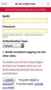 screenshot of entering NetID and password in CAS