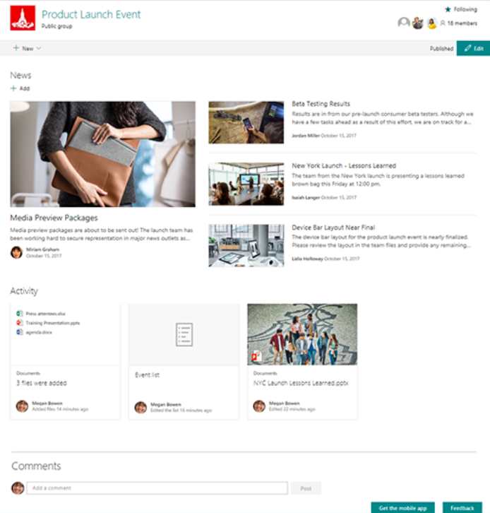 SharePoint team sites page
