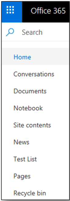 SharePoint navigation bar