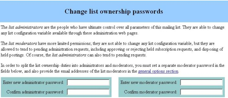 administrator and moderator passwords screenshot