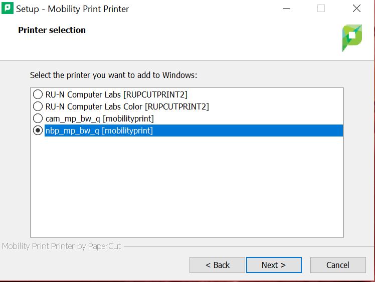 papercut win printer selection