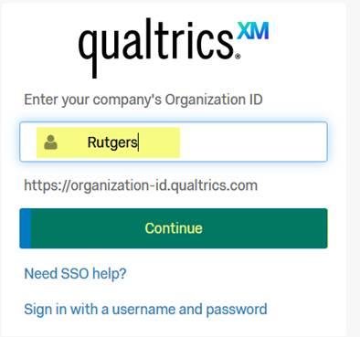 Qualtrics training log in organization ID page