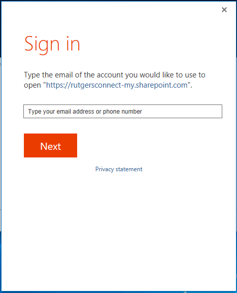 An image of OneDrive for Business prompting a user to sign in.