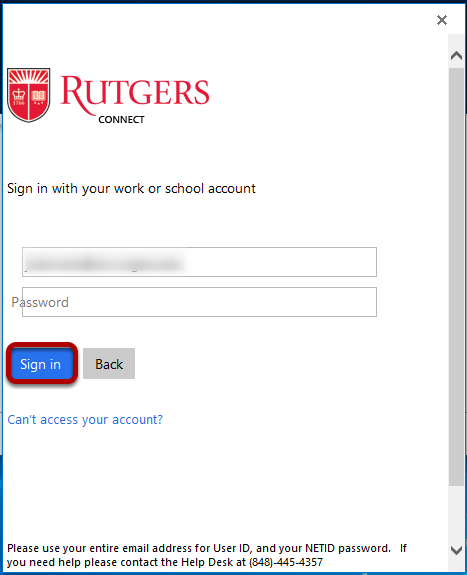 An image prompting a user to enter their Rutgers Credentials.