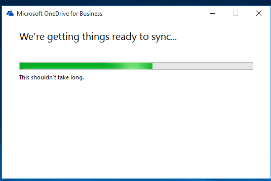An image of OneDrive for Business syncing one's files.