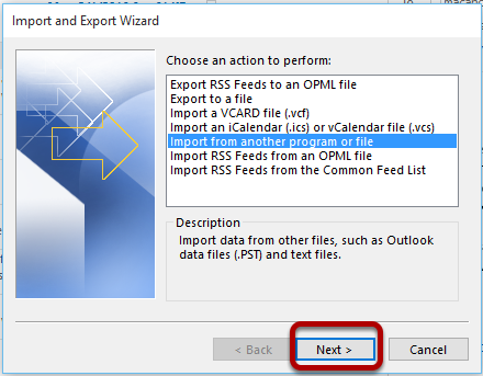 """The Import and Export Wizard with the """"Import from another program or file"""" option highlighted."""