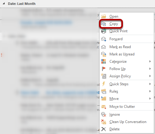 An image showing the copy feature to copy to a non-archived folder.