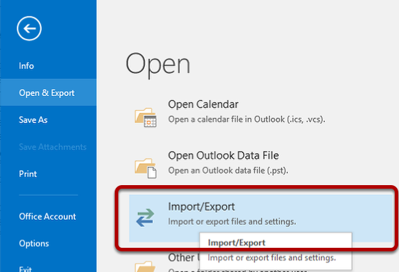 An image showing the Import/Export option in PST import.