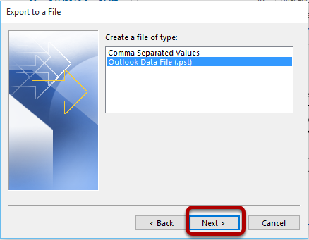 """An image showing the next screen after selecting """"Export to a file"""" and """"Next >"""". """"Outlook Data File (.pst)"""" is highlighted."""