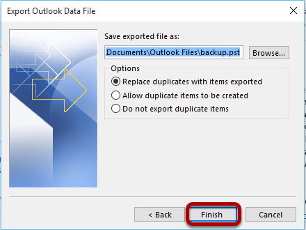 After selecting the destination of exported files, this window will show up.