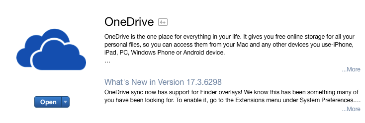 An image of downloading OneDrive from the Apple App Store