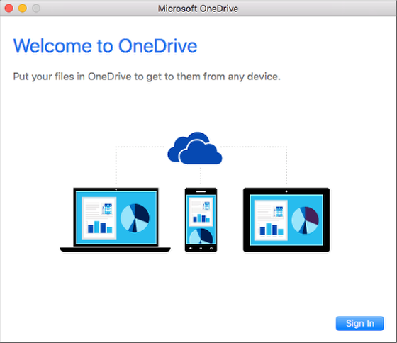 An image of OneDrive's welcome screen.