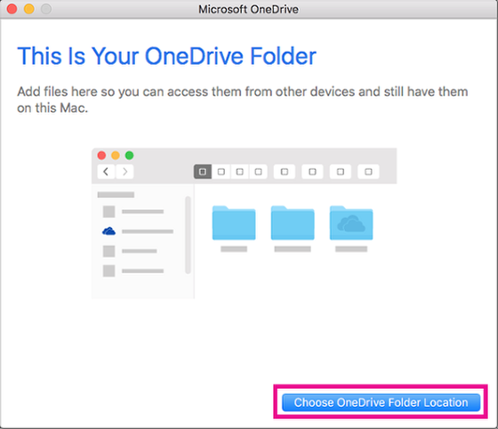 An image of the page confirming a OneDrive sign in, which allows you to choose a folder location.
