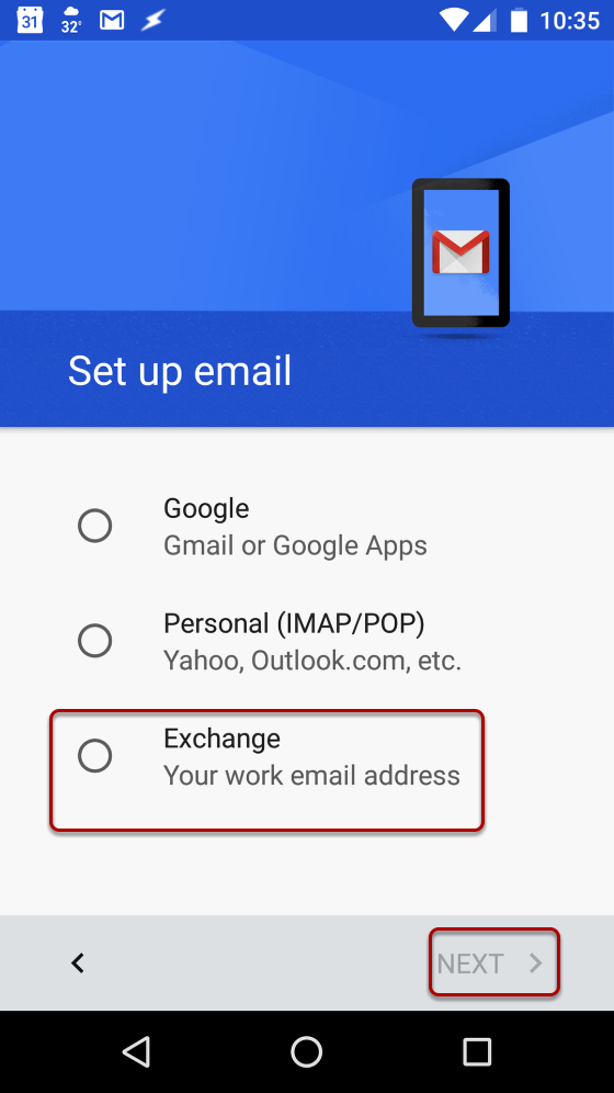 An email of the Gmail mobile application's add account menu.
