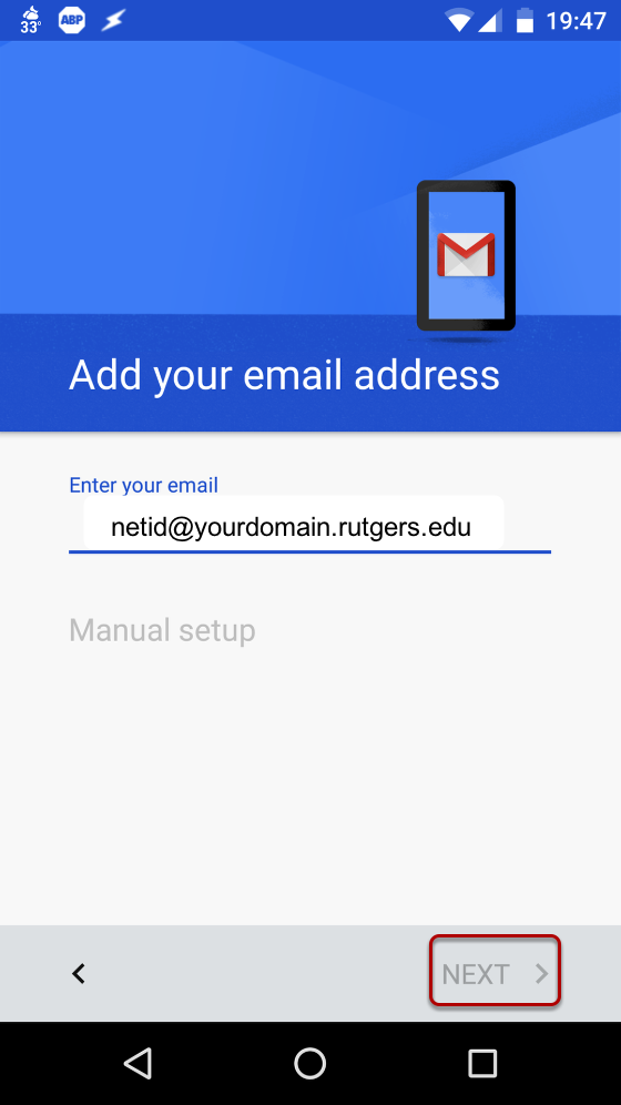 "An image showing the option to input your Rutgers email address after choosing ""Exchange account""."