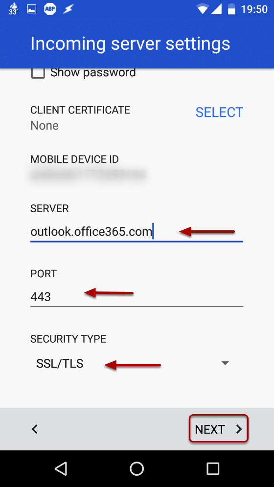 "An image showing the fields for ""Server"", ""Port"", and ""Security Type""."