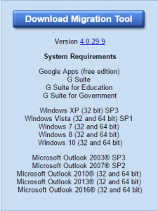 An image showing the download page for the Migration Tool.