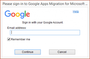 "An image showing the window that will pop-up when launching the ""G Suite Migration for Microsoft Outlook"" program."