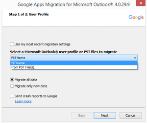 An image asking what type of file to migrate.
