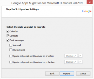 An image asking what data one wants to migrate.