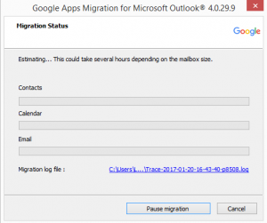 An image showing the Migration Status screen.