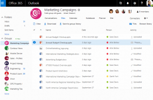 An image of the shared files library interface on Outlook.