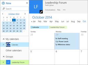 An image of the shared calendar interface on Outlook.