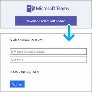 An image showing the Microsoft Teams download link and the prompt to sign in with one's Rutgers credentials.