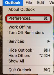 In the toolbar after opening Outlook, select Preferences