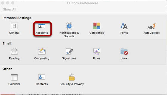 In Outlook Preferences window, select Accounts