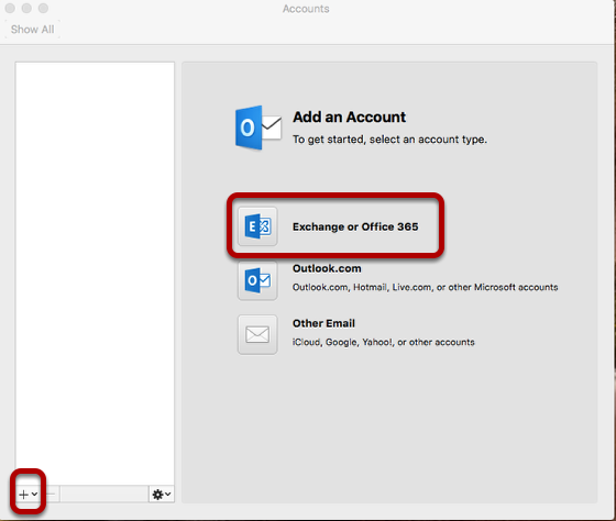 Select Exchange or Office 365 or the plus symbol on the bottom left in Accounts