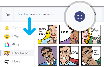 Select the smiley face to add emojis to your messages