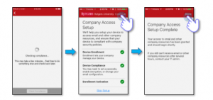 Complete device enrollment, iOS Management Profile installation, compliance, and activation