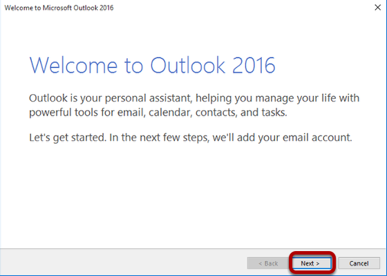 Welcome to Outlook 2016 prompt for first time set up