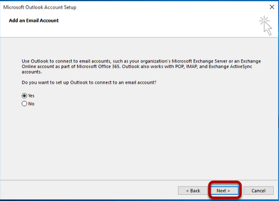 Add an Email Account prompt. Select Yes and Next