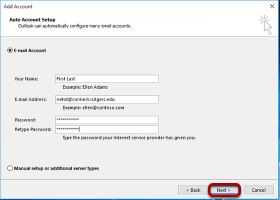 Auto Account Setup. Select E-mail Account, fill out your name, email-address, password and select Next