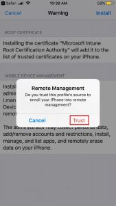 Trusting remote management to install profile