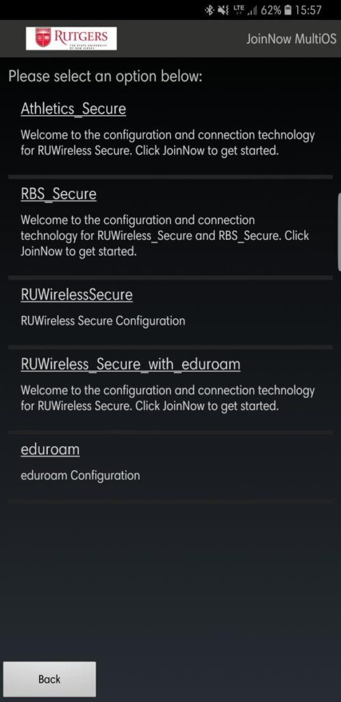 JoinNow app network select page screenshot