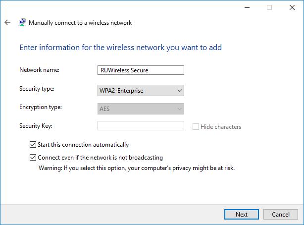 Manually adding network screenshot