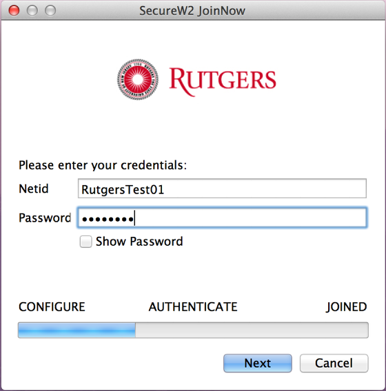 RUWireless Secure Installer entering credentials screenshot