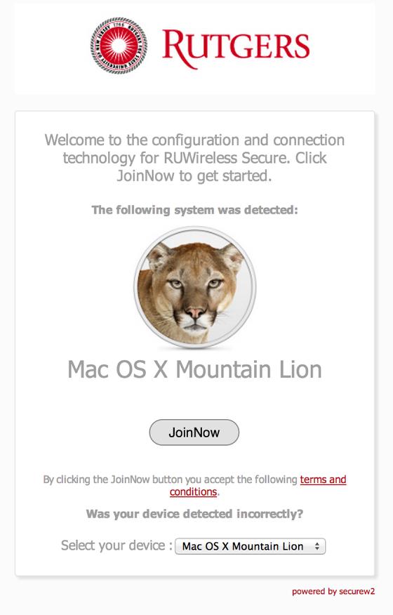 RUWireless Installer download for MacOS screenshot
