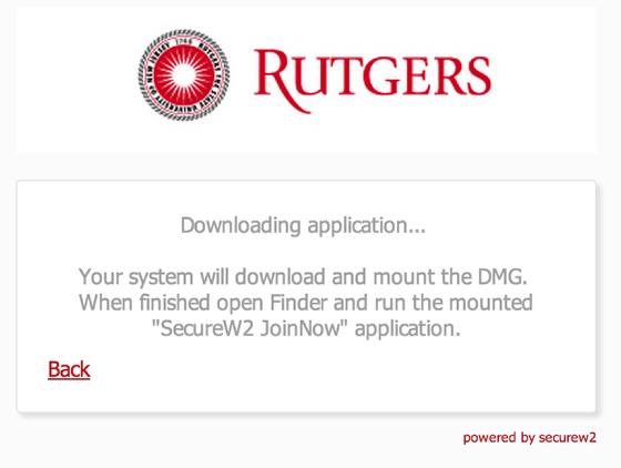 RUWireless Installer for MacOS downloading screen