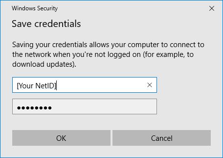 Save credentials pop-up screenshot