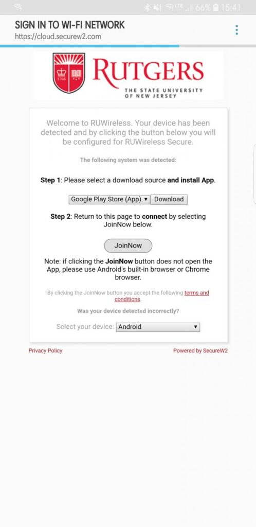 Andriod certificate download page screenshot