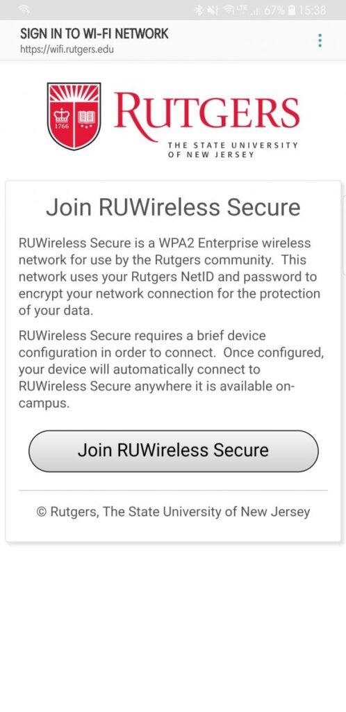 Join RUWireless Secure screen
