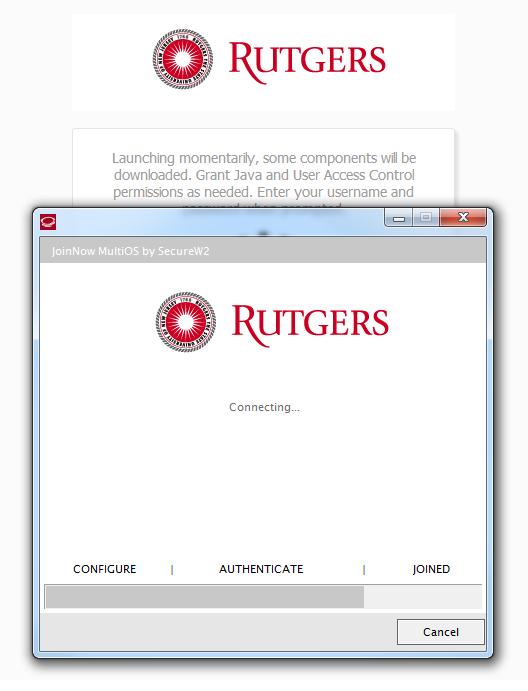 Windows RUWireless Secure connecting screenshot